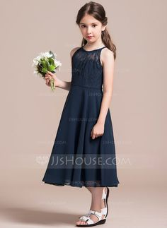 A-Line/Princess Scoop Neck Tea-Length Ruffle Zipper Up Covered Button Spaghetti Straps Sleeveless No Dark Navy General Chiffon Lace Junior Bridesmaid Dress