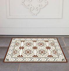 Tiles Pattern Decorative Pvc Vinyl Mat  Color Dark Brown And Gorgeous Kitchen Mats Target Design Inspiration