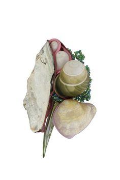 brooch: textiles, shells, snails, pearl, glass beads