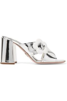 Heel measures approximately 85mm/ 3.5 inches Silver mirrored-leather Slip on Made in ItalySmall to size. See Size & Fit notes.