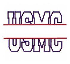 INSTANT DOWNLOAD USMC split embroidery applique design Marines patriotic split $3.50