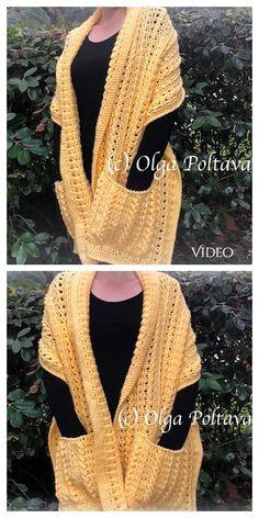 Crochet Prayer Shawls, Crochet Hooded Scarf, Crochet Shawls And Wraps, Knit Or Crochet, Crochet Scarves, Crochet Clothes, All Free Crochet, Pull Crochet, Crochet Shrug Pattern