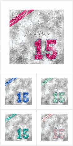 'Silver Brocade Quinceanera' A subtle brocade effect in sparkling silver is the background for a large faux-glitter number fifteen and matching ribbon accent available in seven trendy colors on this elegant fifteenth birthday party invitation. Birthday Party Design, Birthday Party Invitations, Invites, Trendy Colors, Quinceanera, Sweet 16, Party Supplies, Happy Birthday, Ribbon