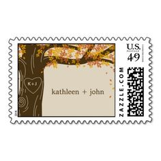 Oak Tree Fall Wedding Custom Postage Stamp Stamps