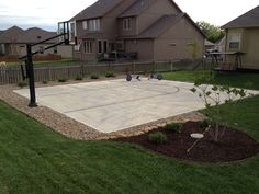 His Pro Dunk Gold Basketball System sits nicely beside the concrete court. His Pro Dunk Gold Basketball System sits nicely beside the concrete court. Backyard Playground, Backyard Patio, Backyard Landscaping, Landscaping Ideas, Backyard Projects, Backyard Ideas, Toddler Playground, Concrete Backyard, Playground Set