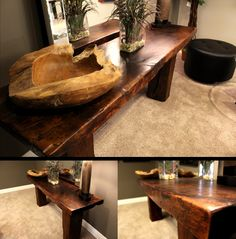 """""""Tractor Board"""" sofa table- Rescued Workbench"""