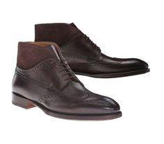 Men Dark Brown Leather Boot, Handmade Brogue Wing
