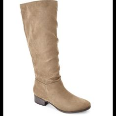 Madden Girl Persiss Boot Madden Girl Persiss Slouchy boot. Taupe sueded fabric, back zip closure. Slightly slouchy fit. New in box. Have these in an 8 1/2 also. Madden Girl Shoes