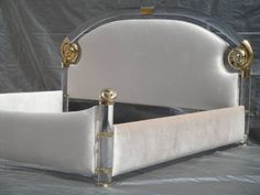 Glamorous Brass and Lucite Queen Bed by Marcello Mioni | From a unique collection of antique and modern beds at https://www.1stdibs.com/furniture/more-furniture-collectibles/beds/