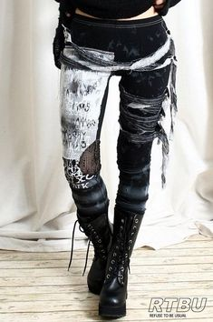 Punk Jeans Hose Gothic Trend Ripped zerreißen Destroy Nägel Leder Punkrave Mann
