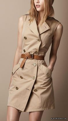 Burberry sleeveless trench dress Forever known for its trench coats why not carry the legacy forward by chopping out the sleeves for Spring and Summer Its a stylish stapl. Casual Dresses, Casual Outfits, Fashion Dresses, Casual Wear, Look Fashion, Womens Fashion, Fashion Trends, Fashion Coat, Classic Fashion