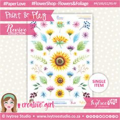 PP/193/CC/FS-FF - Print&Play - CUTE CUTS - Flower Shop-Flowers&Foliage - Revive Collection Cute Cuts, Printable Paper, Flower Crafts, The Creator, Paper Crafts, Symbols, Collections, Play, Creative