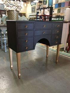 Stately little dressing table painted with Chalk Paint® by Annie Sloan in Graphite and sealed with Black Soft Wax. Legs and drawer pulls guilted with Annie Sloan's Bright Gold Guilding Wax!