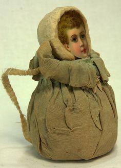 Antique German Cotton Batting Die Cut Child Face Candy Container C1910   eBay