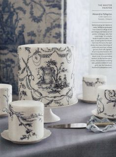 how to paint toile on cakes - Google Search
