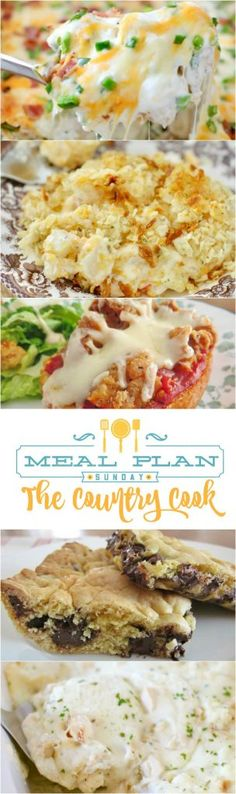 Meal Plan Sunday featured recipes include: Jalapeño Popper Tater Tot Casserole, Funeral Potatoes, Crock Pot White Chicken Lasagna, Chicken Parmesan Pizzas, One Pot BBQ Chicken Pasta, Lazy Chocolate Chop Cookie Bars, Steak Marinade, Grasshopper Cake