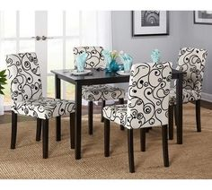 Dining Table Set For 4 Kitchen Nook Formal Room Sets 5 Piece 4 Chairs Modern Blk #SimpleLiving #ModernContemporary