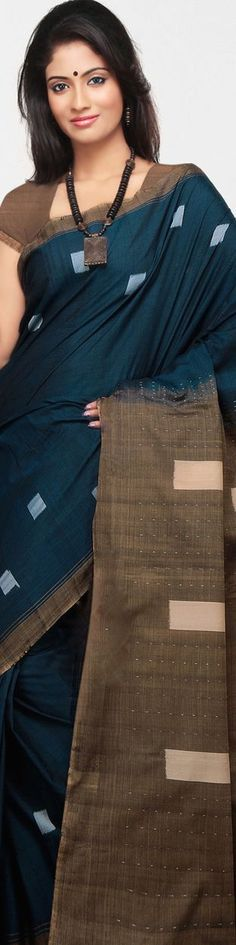Teal Blue and Brown Odisha Pure Cotton Handloom Saree with Blouse