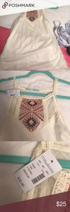 Embroidered tank top Maurice's pink black and gold embroidered lace tank top... Never worn with tags Maurices Tops Blouses