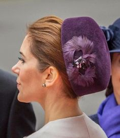 Crown Princess Mary hat detail during the opening of the Danish parliament at Christiansborg Castle, 07.10.2014.