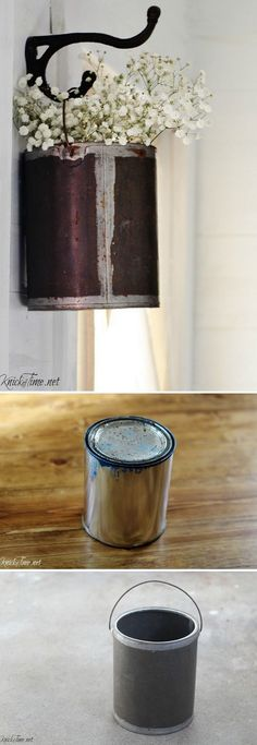 Check out how to repurpose a paint can to a DIY farmhouse style flower pot @istandarddesign