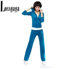 Cheap New Velour Tracksuit Fashion Women Clothes Sport Sweatsuits Hoodies Women Costume Cotton Leisure with Skinny Ladies  Pants
