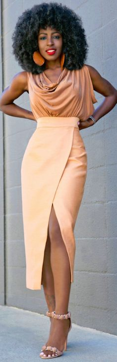 Cowl Neck Blouse + Tan Front Slit Midi Skirt // Fashion Look by Style Pantry