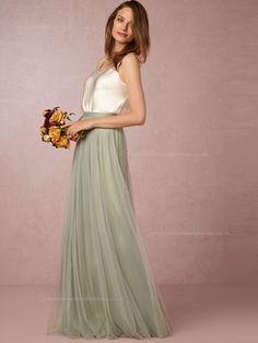 Popular A-line Bateau Green Natural Backless Bridesmaid Dresses