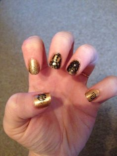 Gold and black nail art. NYE 2013 design.