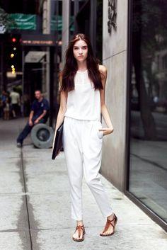 Grace Hartzel // long hair, white jumpsuit & tan leather sandals #style #fashion #summer #modeloffduty #streetstyle