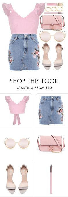 """""""Bloom"""" by smartbuyglasses-uk ❤ liked on Polyvore featuring River Island, Topshop, Quay, Anja, Luxie, Guerlain and Pink"""
