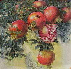 Realistic and Charming Works of Chinese Artist Zhe Li, фото № 11 Rooster Painting, Food Painting, Pottery Painting, Chinese Painting, Chinese Art, Pomegranate Art, Apple Art, Watercolor Fruit, Jesus Painting