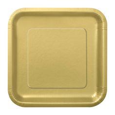 Platos cuadrados de cartón dorado, para fiestas elegantes, de www.fiestafacil.com - $2.95 el paquete de 14 / Gold paper plates, from www.fiestafacil.com