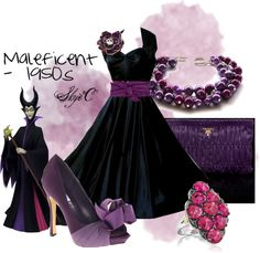 """Maleficent 1950s Outfit"" Love Maleficent... and not the sissy new one with a good heart, either"