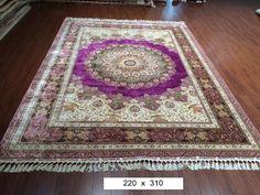 Large Purple Oriental Bedroom Turkish Area Rugs Persian Handmade Silk Rug Carpet #YilongCarpet #TraditionalPersianOriental