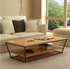 Trader retro modern minimalist personality Iron wood coffee table coffee table American country trapezoidal double coffee table