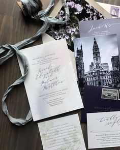 Purple and Gray Watercolor Wash Wedding Invitations by Darling and Pearl Butterfly Wedding Invitations, Wedding Invitation Cards, Invites, Wedding Stationery Inspiration, Wedding Illustration, Wedding Calligraphy, Letterpress Printing, Wedding Details, Wedding Favors