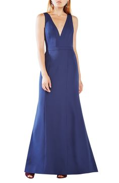 BCBGMAXAZRIA 'Riva' Cutout Back Satin Gown available at #Nordstrom