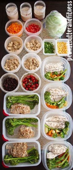 Meal prep ideas for the week! What's pictured: panko parmesan crusted cod with broccolini and bruschetta, spicy turkey lettuce wraps, chicken and Bird's Eye Asian Medley mixed veggies and PB&J overnight oats (my go to breakfast during the week). #MealPrepMonday