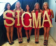 Would be a cute bid day idea for the new MCs who can't use the Greek letters yet. *** RED dresses, gold letters are great! but maybe white glitter! Sigma Alpha Epsilon, Kappa Kappa Gamma, Kappa Delta, Alpha Phi, Tri Delta, Phi Mu, Sorority Sugar, Sorority Sisters, Sorority Life