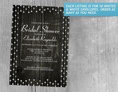 Black Rustic Country Barn Wood Bridal Shower Invitations