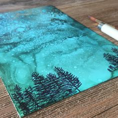 """SOLDSketching some #happylittletrees - swipe for more pics - 5"""" x 7"""" . . . . . . . #inkpainting #wallart #alcoholink #seattleartist #pnwartist #makersmovement #yupo #carveouttimeforart #create #colorinspiration #originalart #visualcrush #creativehappylife #instaart #instaartist #skagitvalley #fluidpainting #art #artist #artdaily #flashesofdelight #thehappynow #alcoholinks #timholtz #cccpalette13 #landscapepainting #showyourwork #affordableart #visualjournal"""