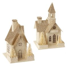Glittered House or Church Ornament – Kottage Boutique