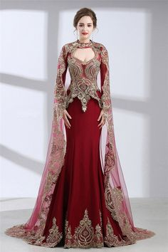 Mermaid Front Cut Out Burgundy Satin Gold Lace Evening Prom Dress With Cape#burgundy#eveningdresses#cape