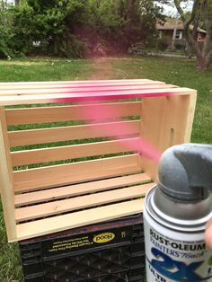 Next time you're at Home Depot, grab a cheap wood crate and save this gorgeous backyard idea for spring!