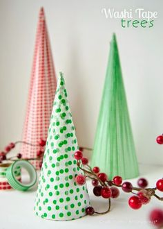 Washi tape mini Christmas trees ... such a simple decoration but look lovely ...