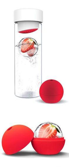Fruit Infusing Water Bottle w/ Ice Sphere ♥ #healthy #nutrition