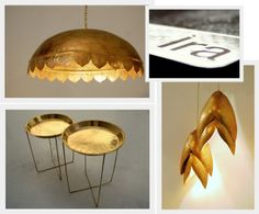 Manasa Prithvi, the designer behind Ira creates products that combine traditional Indian crafts with contemporary design: perforated, spun brass tables, hand-beaten brass dome light, hammered brass lights | An Indian Summer