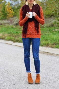 Maroon scarf, orange sweater (saving this idea for fall)
