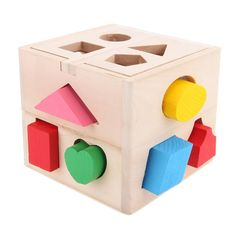 13 Holes Intelligence Box for Shape Sorter Cognitive and Matching Wooden Building Blocks Baby Kids Children Eductional Wood Toys